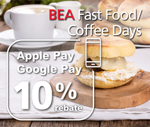 BEA Fast Food/Coffee Days: 10% rebate with mobile payments