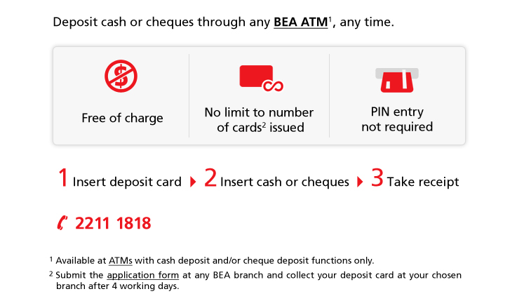 Deposit cash or cheques through any BEA ATM, any time.