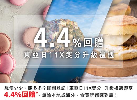 想使少少、賺多多?即刻登記「東亞日11X獎分」升級禮遇即享4.4%回贈,無論本地或海外,食買玩都賺到盡!